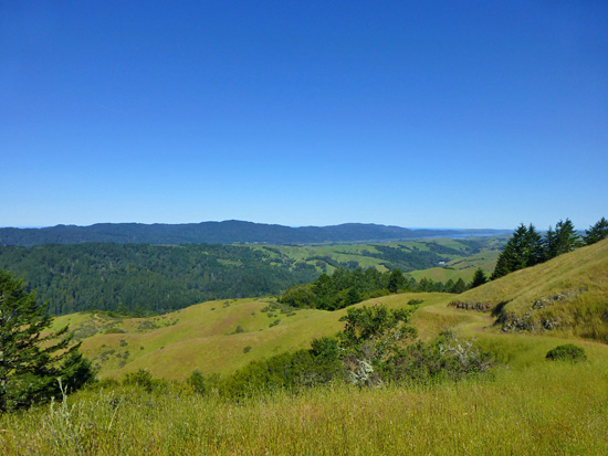 View from Barnabe Peak (1,470') towards Tomales Bay and the Pacific Ocean